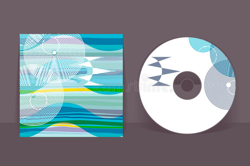 CD cover design template. Abstract pattern graphics. Editable design template. Clipping mask applied in EPS to hide bleed area royalty free illustration