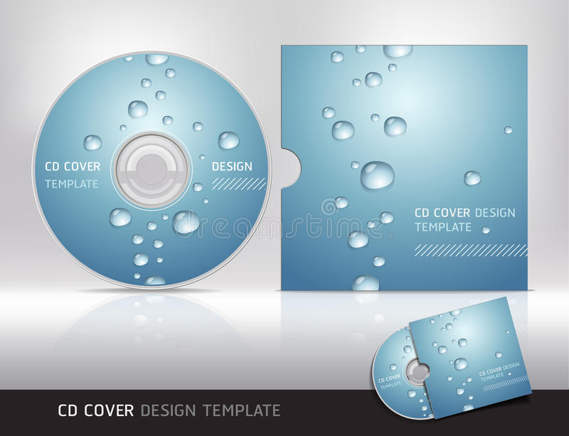 Cd cover design with water drop. vector illustration