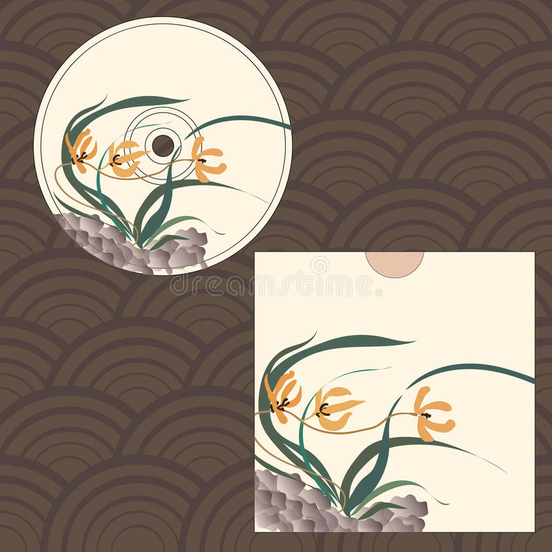 CD cover design. Wild orchid growing on stones. Traditional Chinese painting, Japanese art sumi-e, vector stylization stock illustration