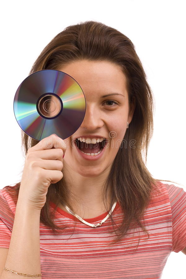 CD de fixation de fille photographie stock libre de droits
