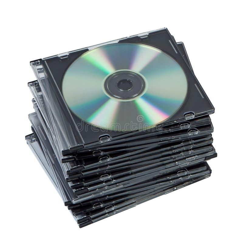 CD della pila in casella isolata. immagini stock