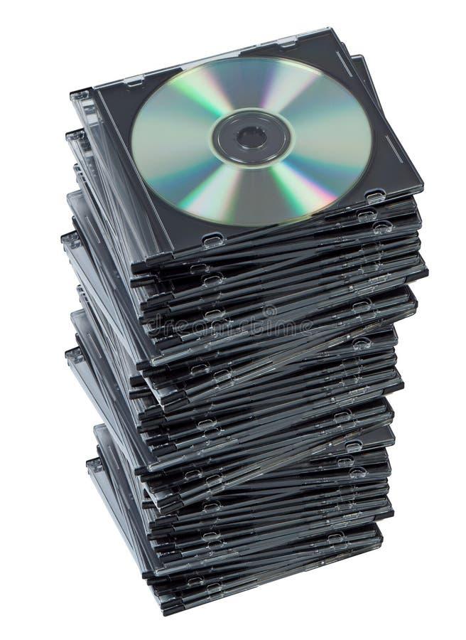 CD della pila in casella isolata. fotografie stock libere da diritti