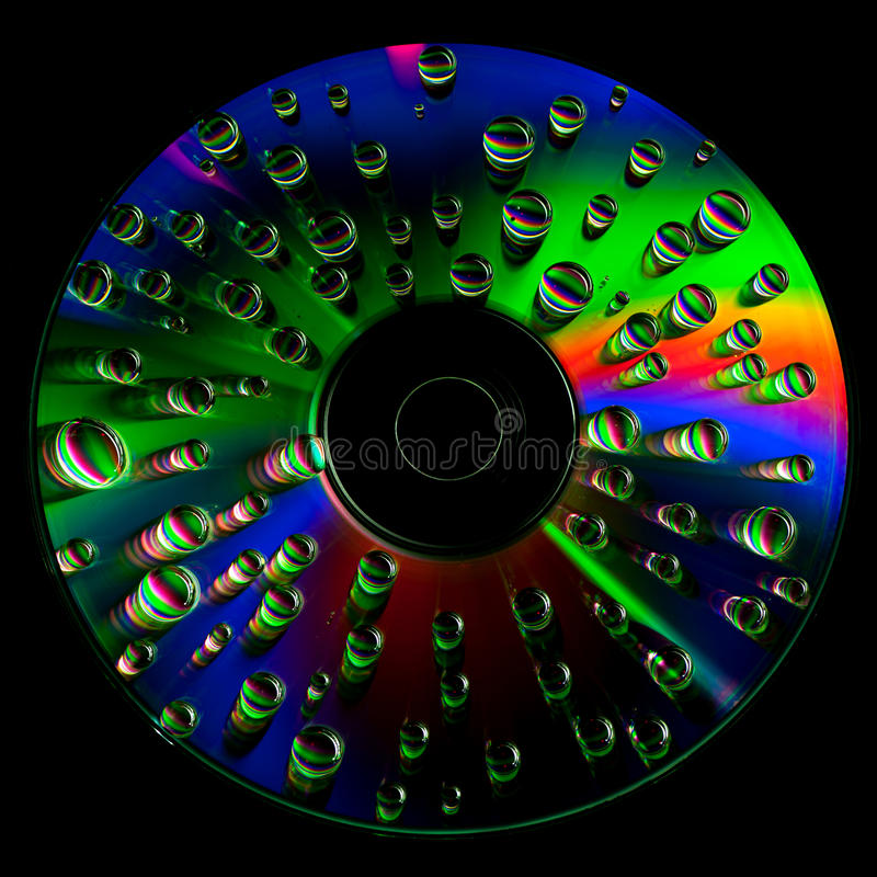 CD disc with water drops stock images