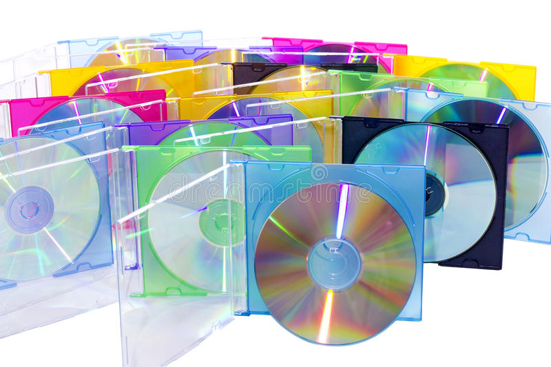 CD in the disclosed colored boxes royalty free stock photography