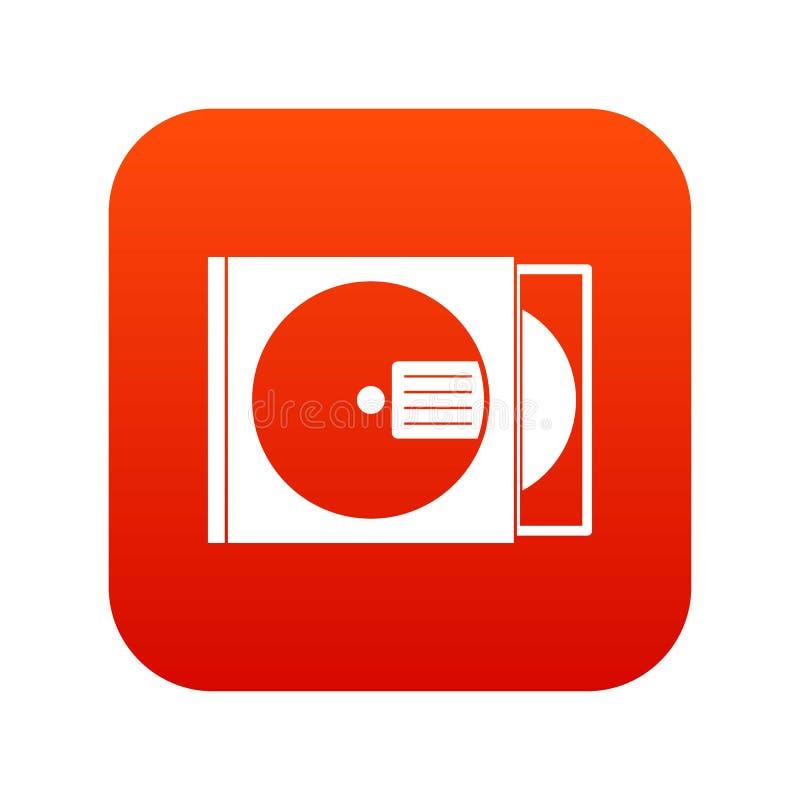 CD doos met het digitale rood van het schijfpictogram stock illustratie