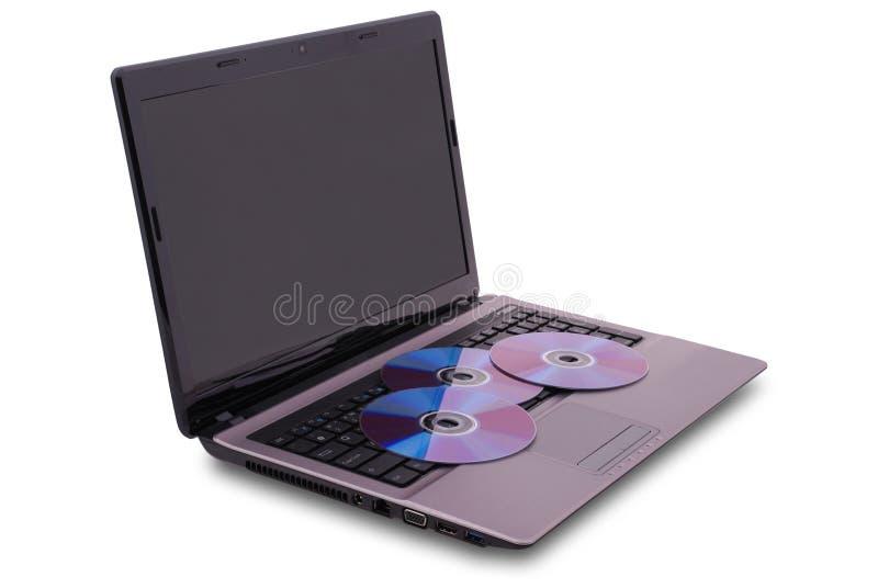 CD drie is op het toetsenbord royalty-vrije stock afbeelding