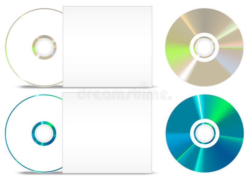 CD - DVD在白色设置的纸盖子 图库摄影