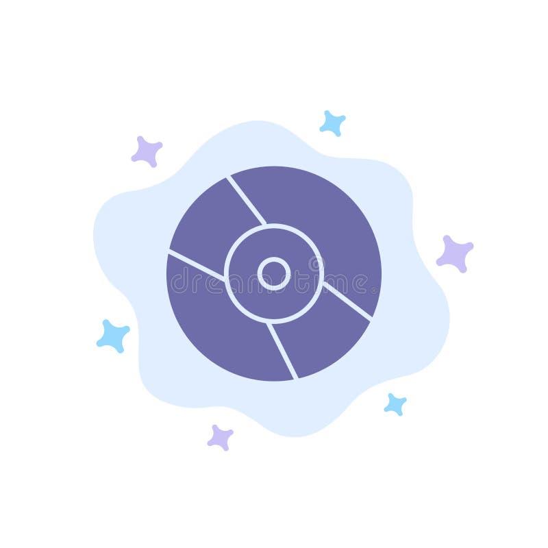 CD, Dvd, disco, icona blu del dispositivo sul fondo astratto della nuvola illustrazione di stock