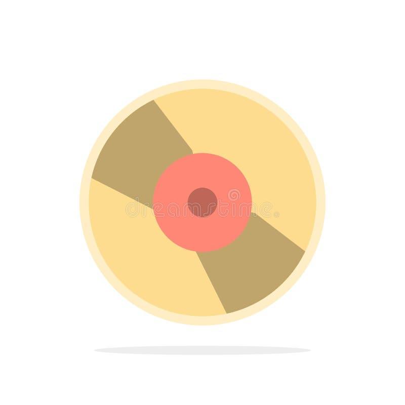 CD, Dvd, disco, icona piana di colore del fondo del cerchio dell'estratto del dispositivo royalty illustrazione gratis