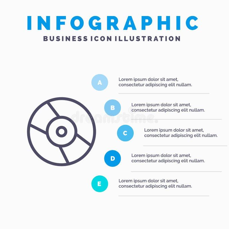 CD, Dvd, disco, linea icona del dispositivo con il fondo di infographics di presentazione di 5 punti royalty illustrazione gratis