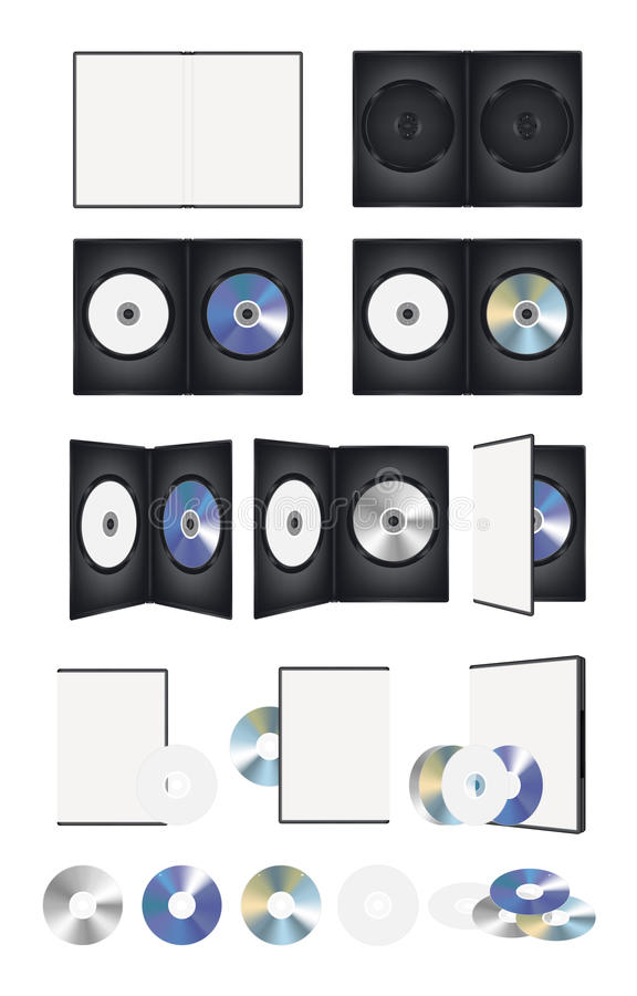 CD DVD Disk and box set. A CD DVD Disk and box set stock illustration