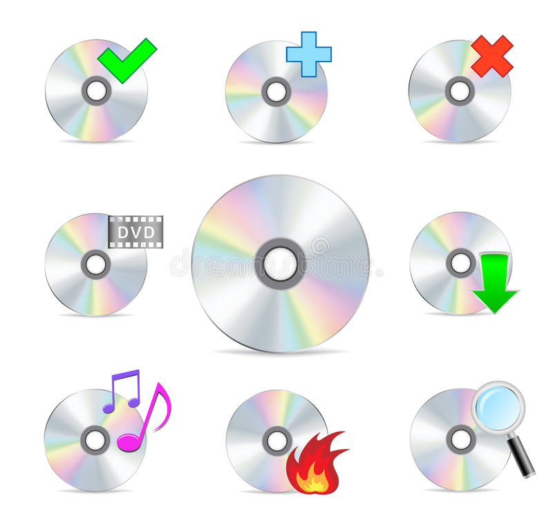 Cd dvd disk set stock illustration
