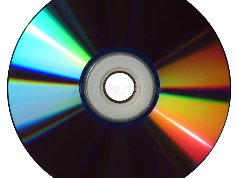 CD DVD empty, blank - spiral track isolated. Format, kind of digital optical disc data storage. Memory device for computer. How to recognize new CD. In white royalty free stock image