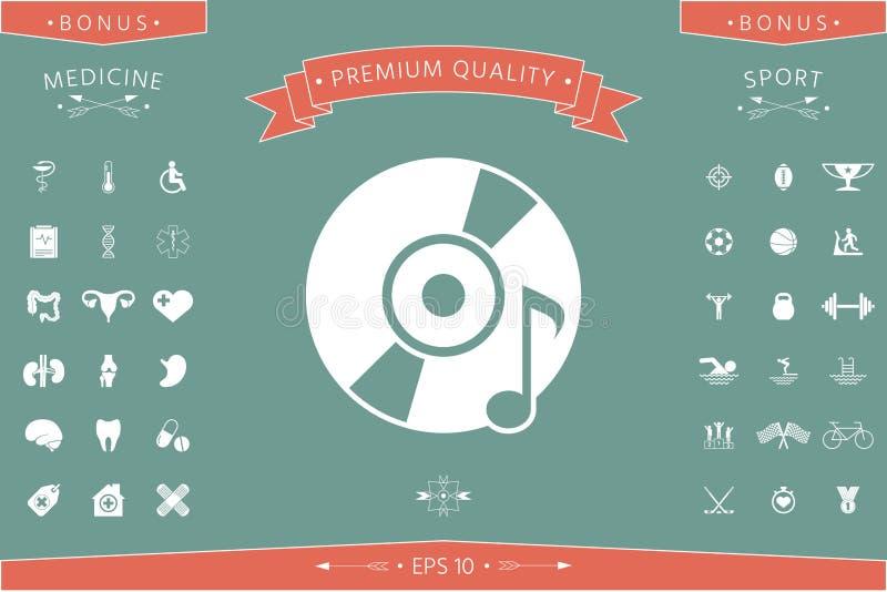 CD, DVD met muzieksymbool royalty-vrije illustratie