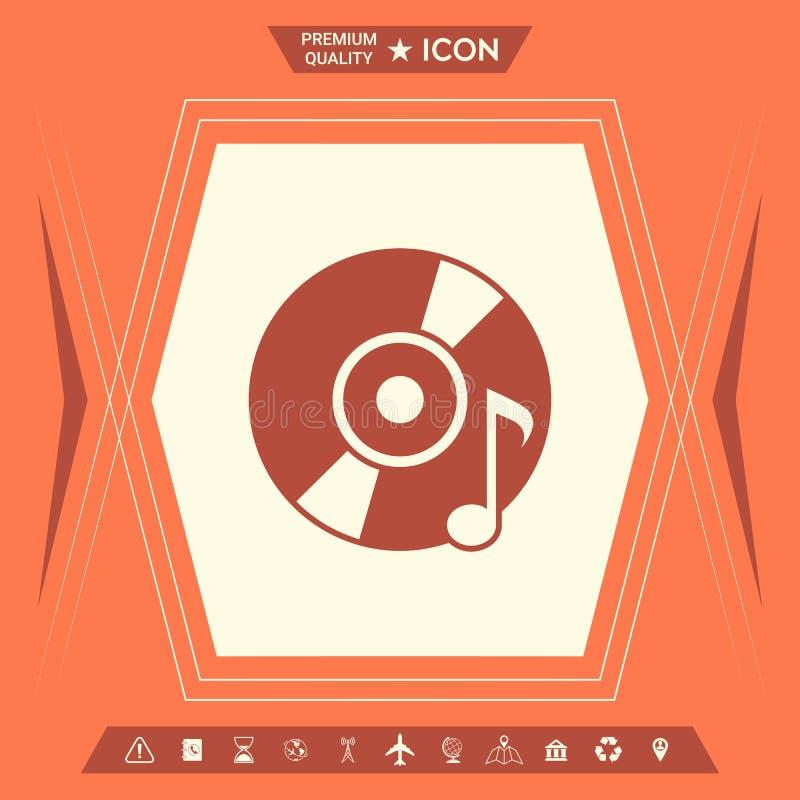 CD, DVD met muzieksymbool stock illustratie