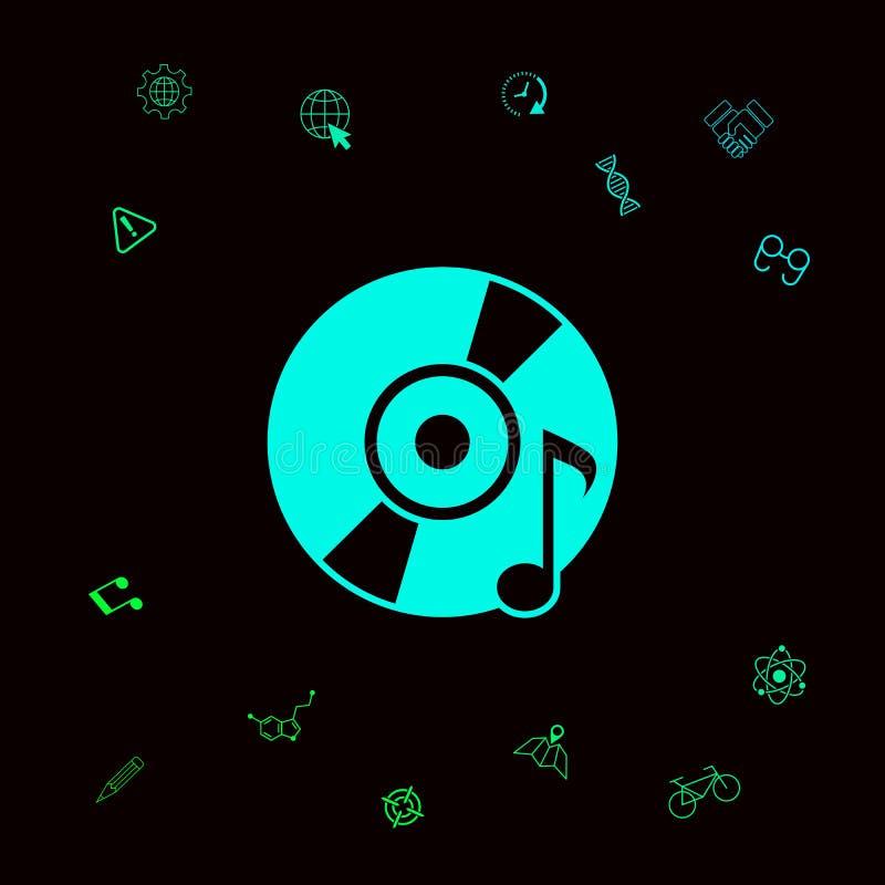CD, DVD met muzieksymbool vector illustratie