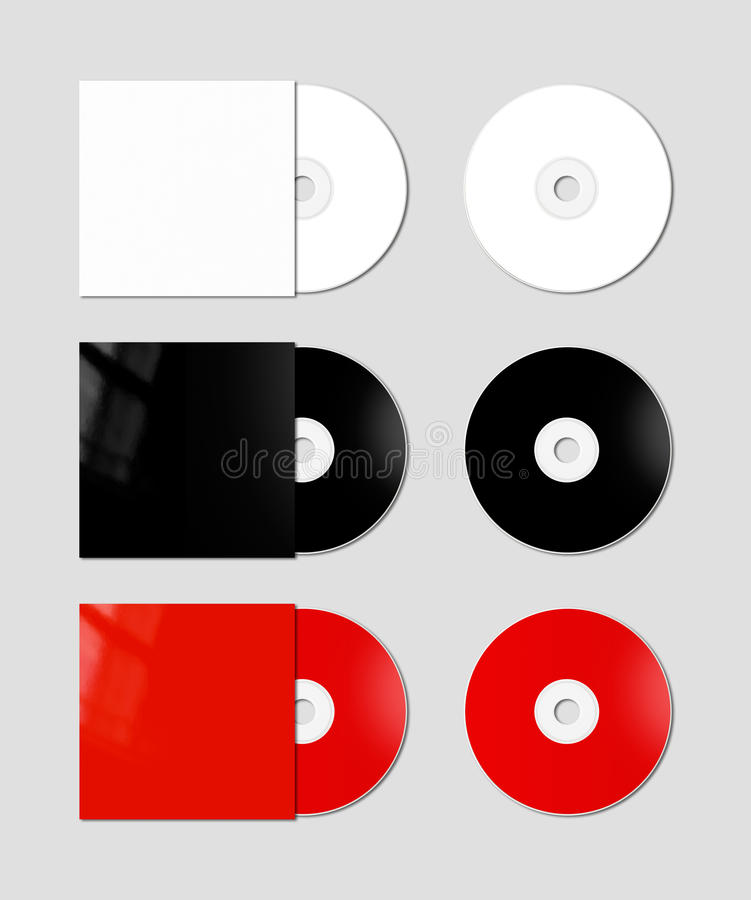 CD - DVD mockup template. White, black and red CD - DVD and covers isolated on background - mockup template royalty free illustration