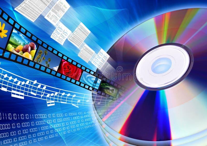 CD/DVD som multimediainnehåll vektor illustrationer