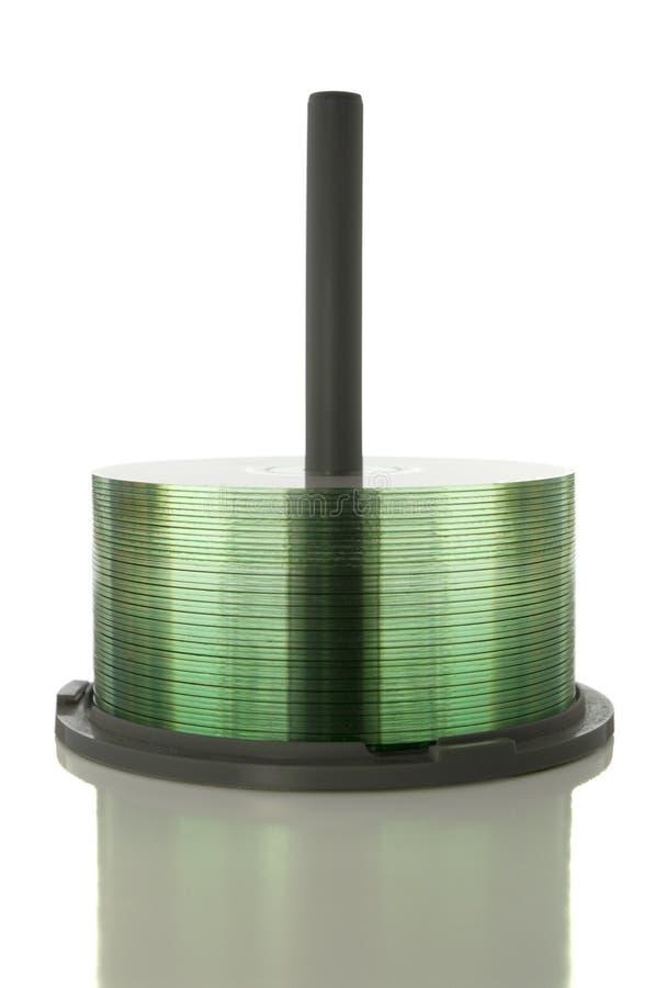 CD/DVD Spindel auf Weiß mit Ausschnittspfad stockbilder