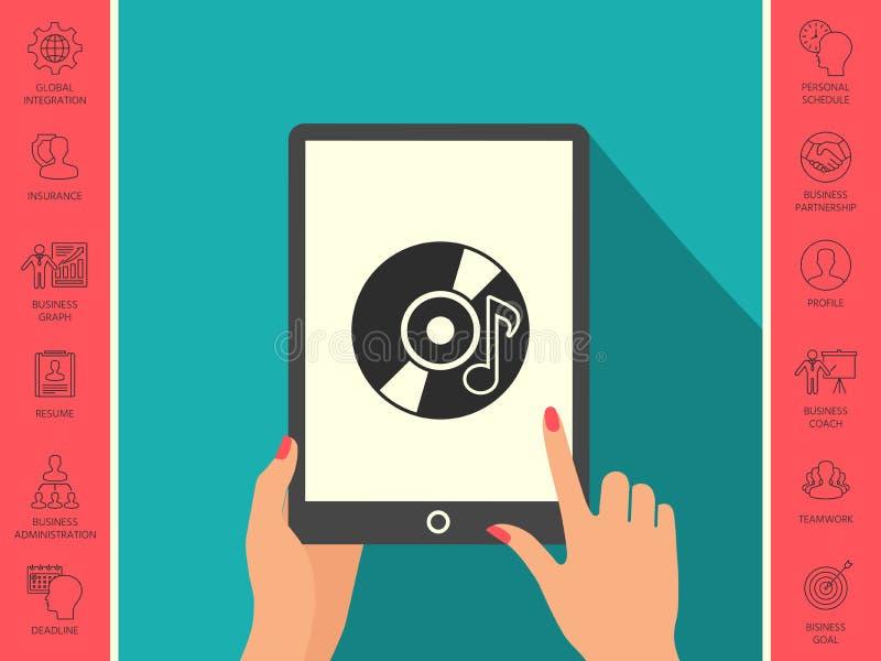 CD, DVD z muzycznego symbolu ikoną ilustracji