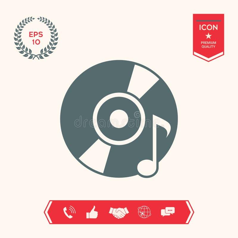 CD, DVD z muzycznym symbolem ilustracja wektor