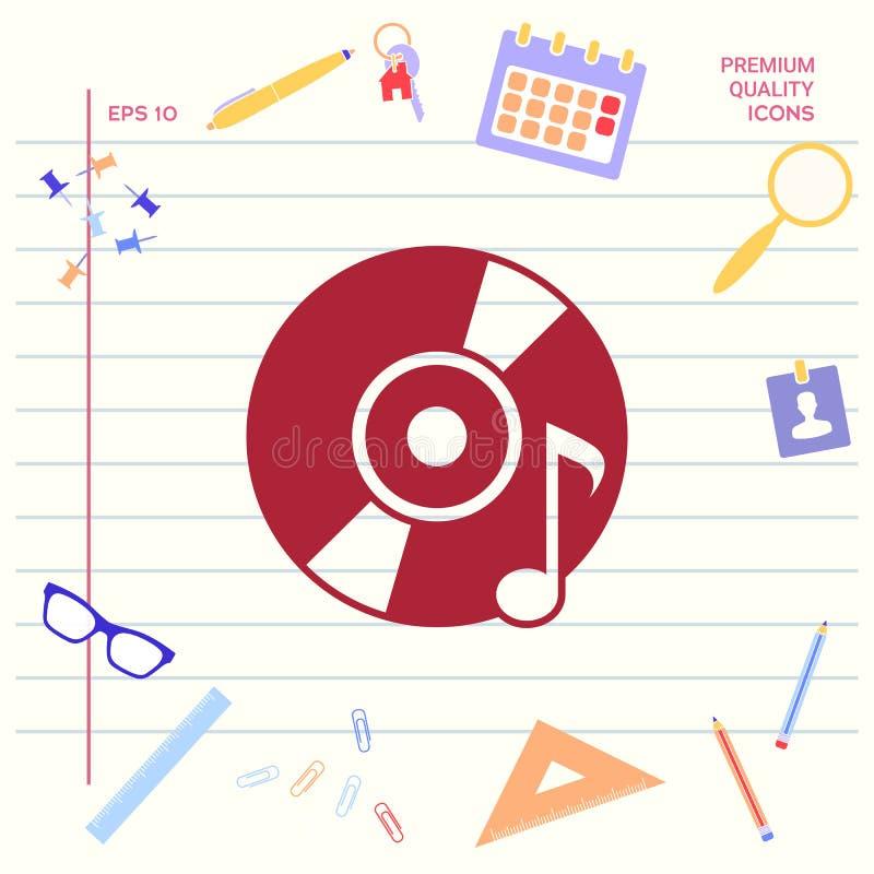 CD, DVD z muzycznym symbolem royalty ilustracja