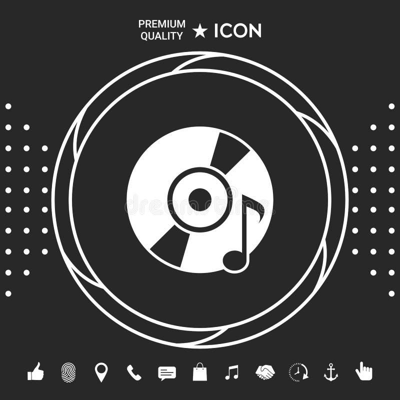 CD, DVD z muzycznym symbolem ilustracji