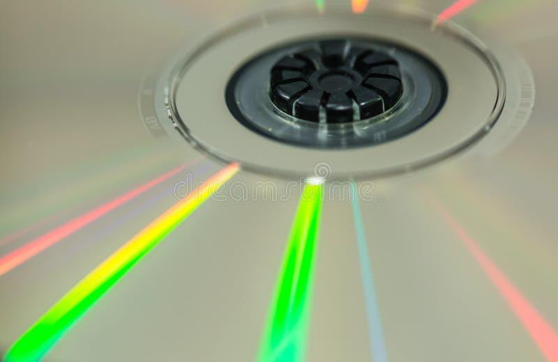 Cd dysk z kolorowego odbicia światła szczegółu makro- widokiem fotografia stock