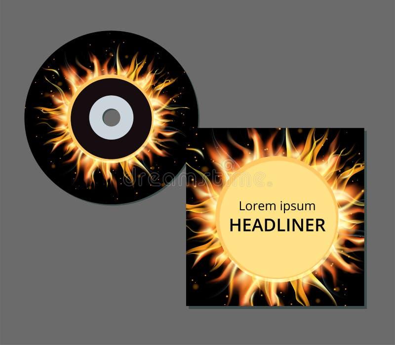 CD e caso no fogo e nas chamas ilustração stock
