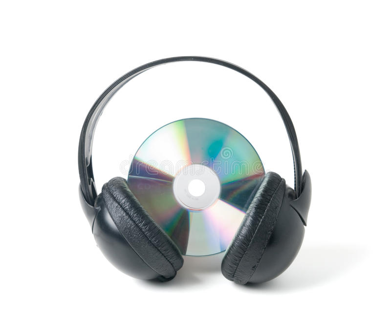 CD e cuffie di musica immagine stock libera da diritti