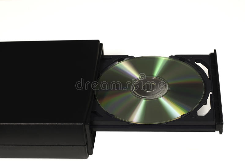 CD en un mecanismo impulsor abierto de la bandeja fotos de archivo libres de regalías