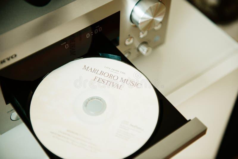 CD för Marlboro musikfestival i CD-spelaremagasin arkivbild