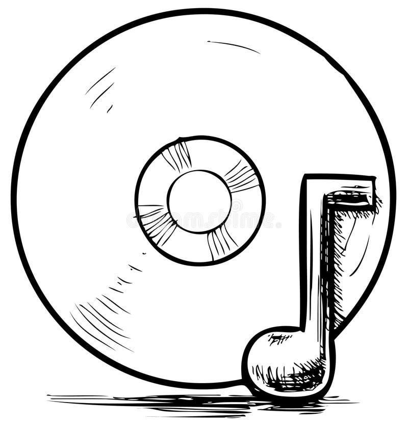 Cd i muzyki notatka ilustracji