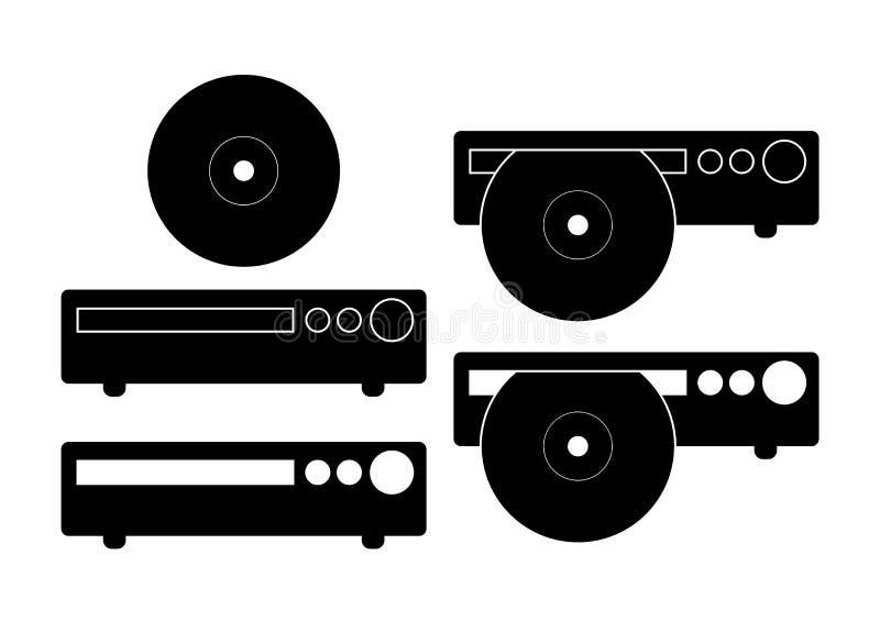 CD, ilustração do vetor do ícone do reprodutor de DVD Sinal liso isolado no fundo branco ilustração stock