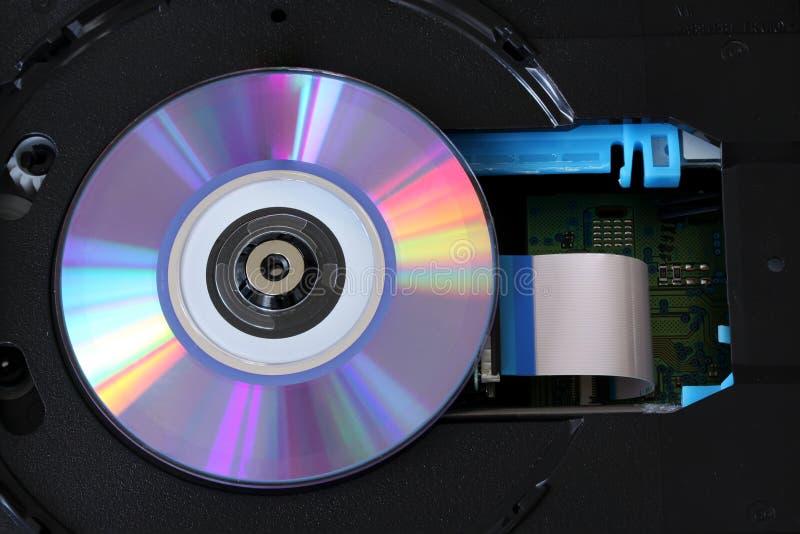 CD inom en DVD-betalare med strömkretsar, kablar och bräden - slut upp fotografering för bildbyråer