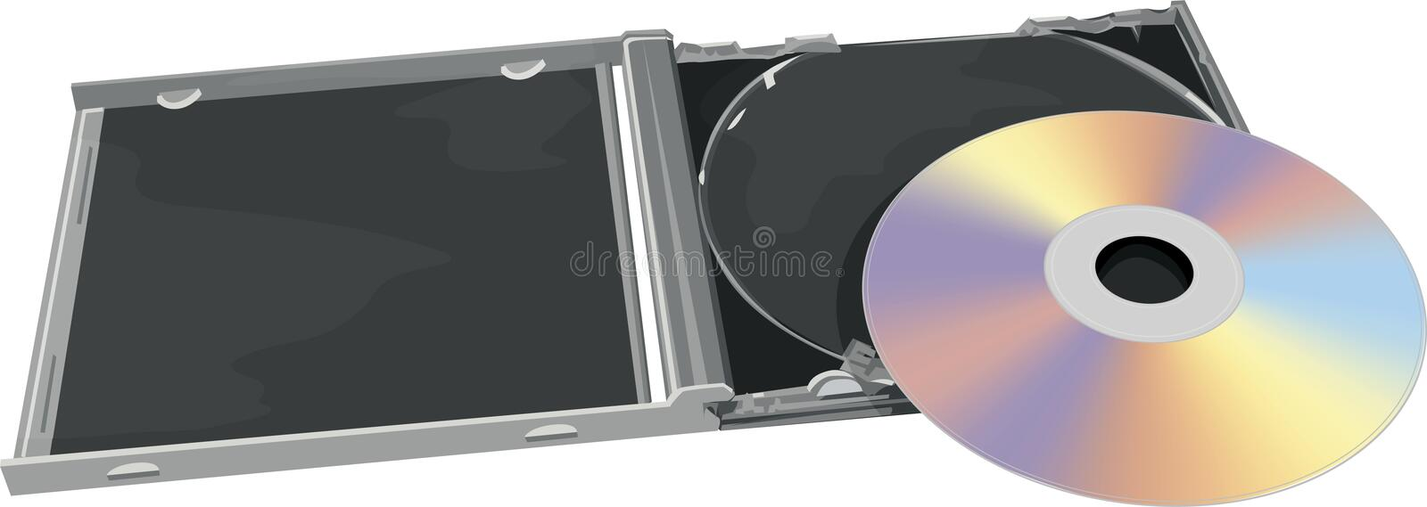 CD and jewel case. Realistic illustration of a CD and a jewel case WITH CLIPPING PATH stock illustration
