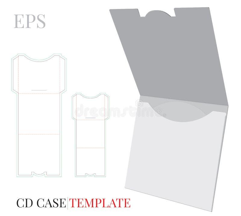 CD Kasten, CD Umschlagschablone, Vektor mit gestempelschnitten/Laser schnitt Schichten Weißer, klarer, leerer, lokalisierter CD U lizenzfreie abbildung