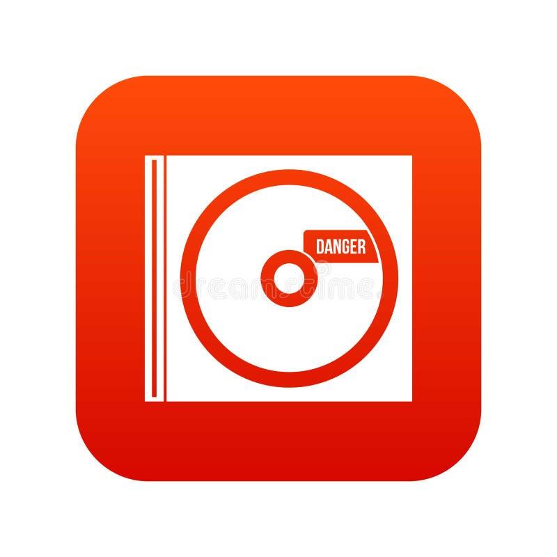 CD med digitalt rött för farabokstäversymbol stock illustrationer