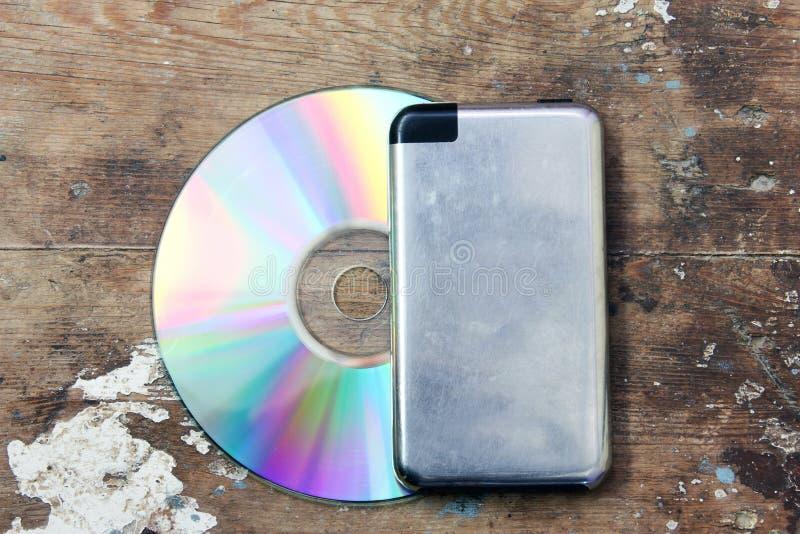 CD med musikspelaren royaltyfri foto