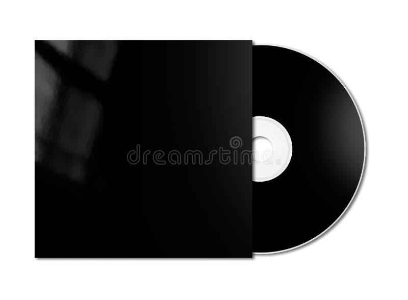 CD nero - modello del modello di DVD isolato su bianco fotografia stock