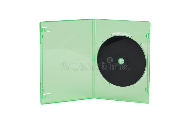 CD nero in scatola verde con fondo bianco isolato fotografia stock