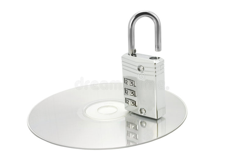 CD with opened lock royalty free stock photos