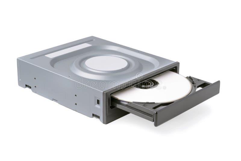 CD ouvert d'entraînement - DVD - Blu Ray avec un chapeau et un disque noirs, fond blanc photos libres de droits