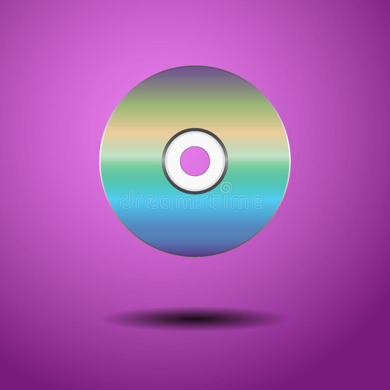 CD på en purpurfärgad bakgrund royaltyfri fotografi