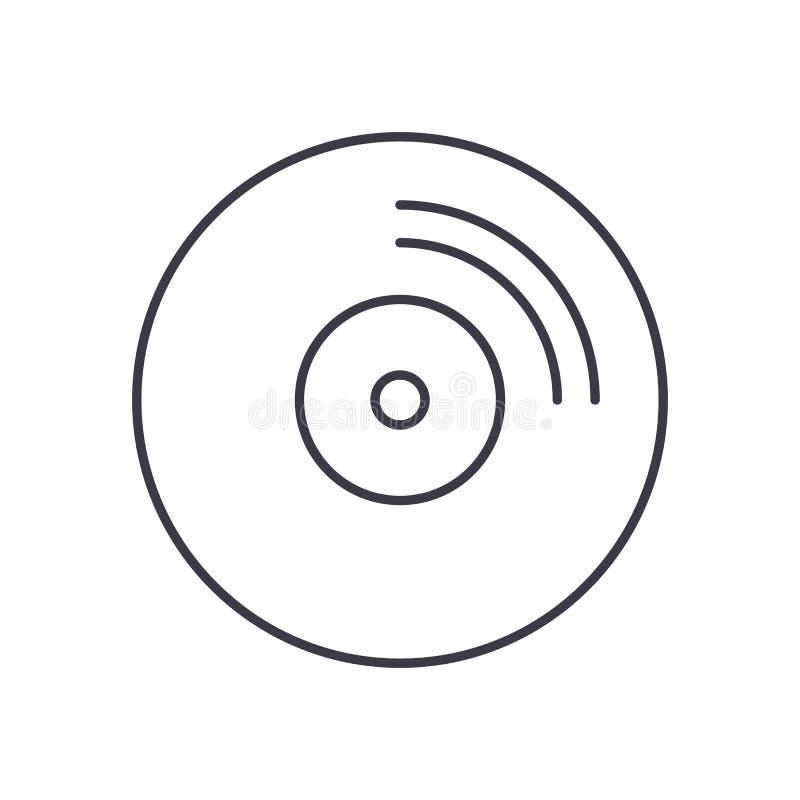 CD-pictogram van de schijf het vectorlijn, teken, illustratie op achtergrond, editable slagen royalty-vrije illustratie