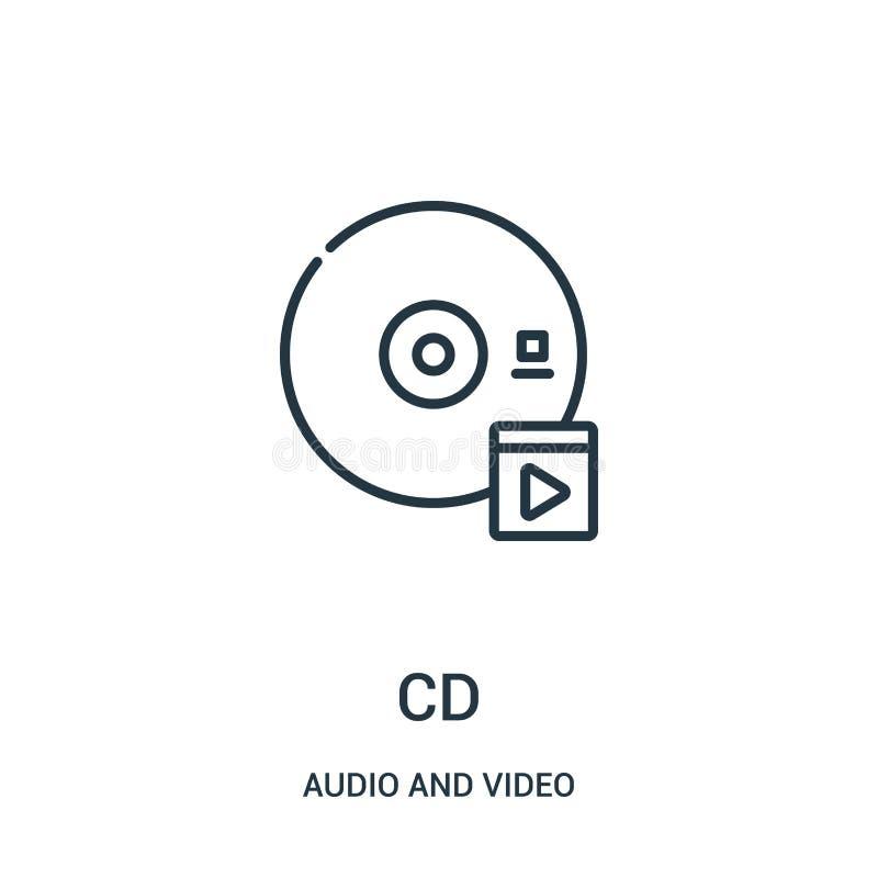 CD-pictogramvector van audio en videoinzameling De dunne van het het overzichtspictogram van lijncd vectorillustratie stock illustratie