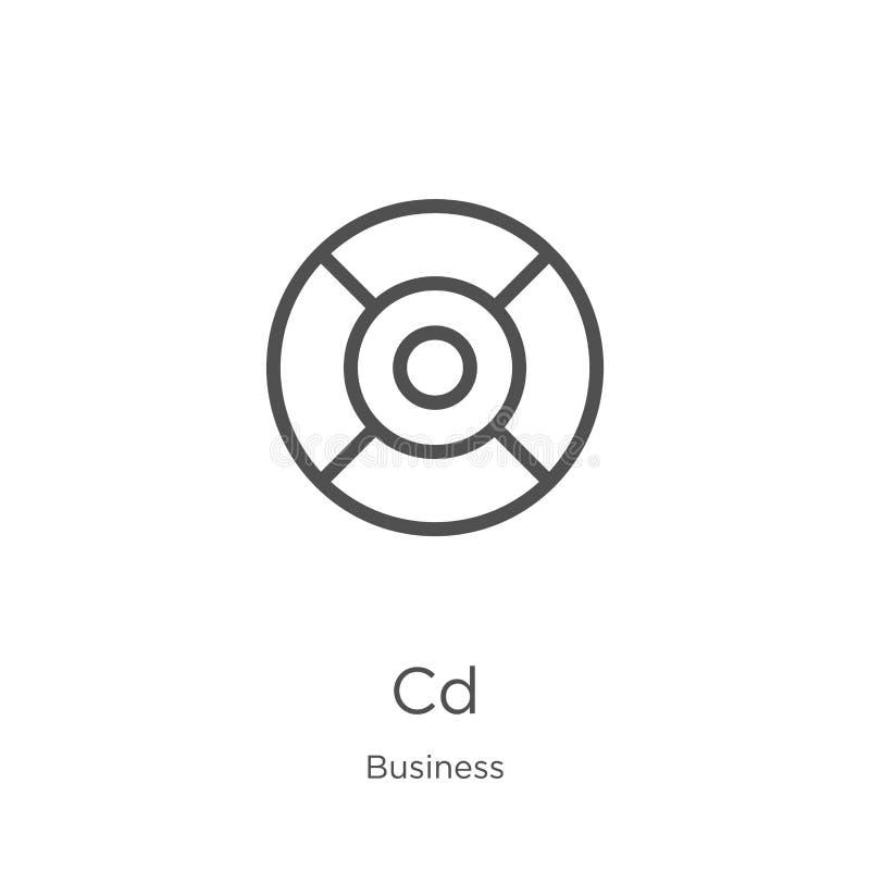 CD-pictogramvector van bedrijfsinzameling De dunne van het het overzichtspictogram van lijncd vectorillustratie Overzicht, het du royalty-vrije illustratie