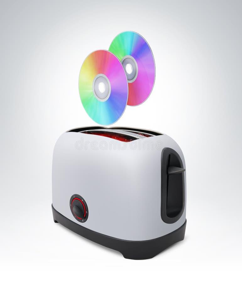 CD Plattenflugwesen aus Toaster, zukünftiger Brand des Konzeptes heraus stockfoto