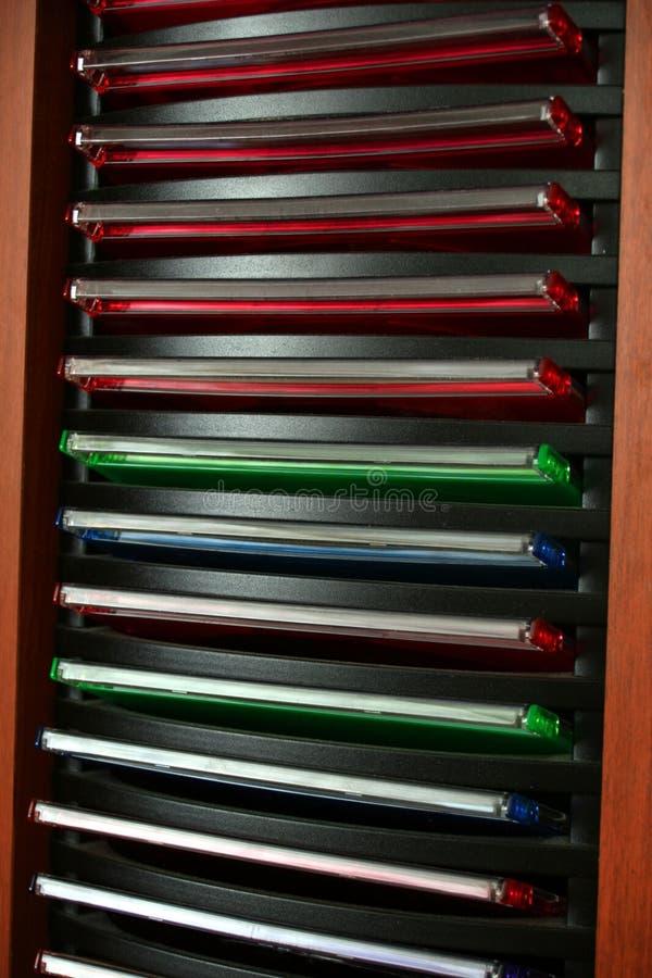 CD Rack. Storage rack of music Compact Disks stock photography
