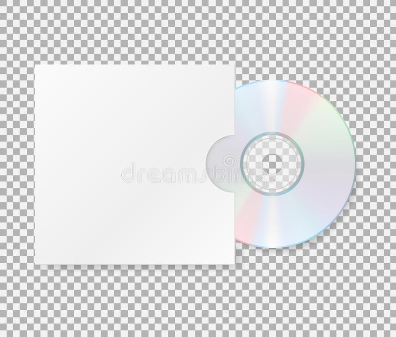CD realístico com tampa Feche acima de um disco do dvd do CD Disco compacto vazio com zombaria da tampa acima do molde no backgro ilustração do vetor